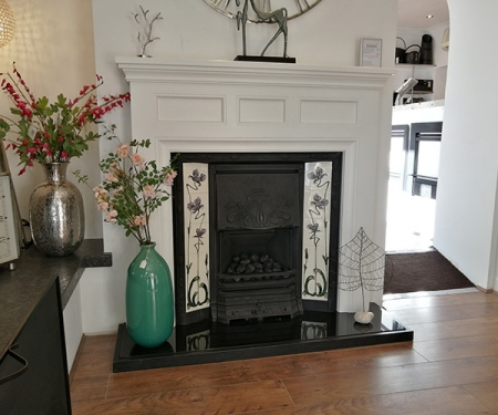 Focus Fireplaces Paris fire surround and Stovax art nouveau cast