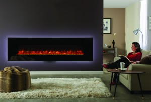 Gazco Radiance 190W Black glass with crushed glass beads
