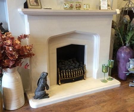 Tuscany limestone fireplace