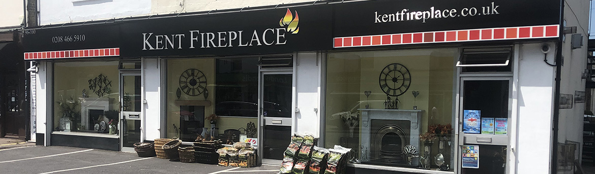 Kent fireplace shop front window display